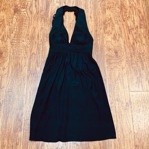 Amanda Uprichard black silk ruffle halter dress S
